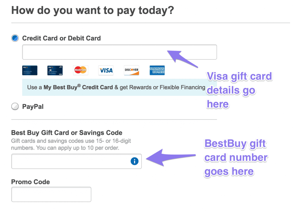 How to use a Visa gift card online