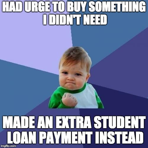 student loan meme extra payment