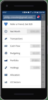 personal capital app menu