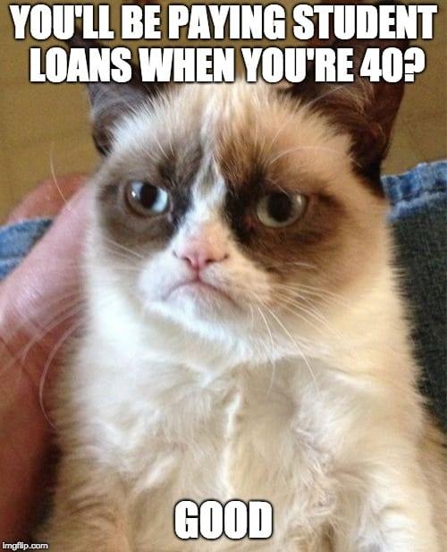 student loan meme grumpy cat