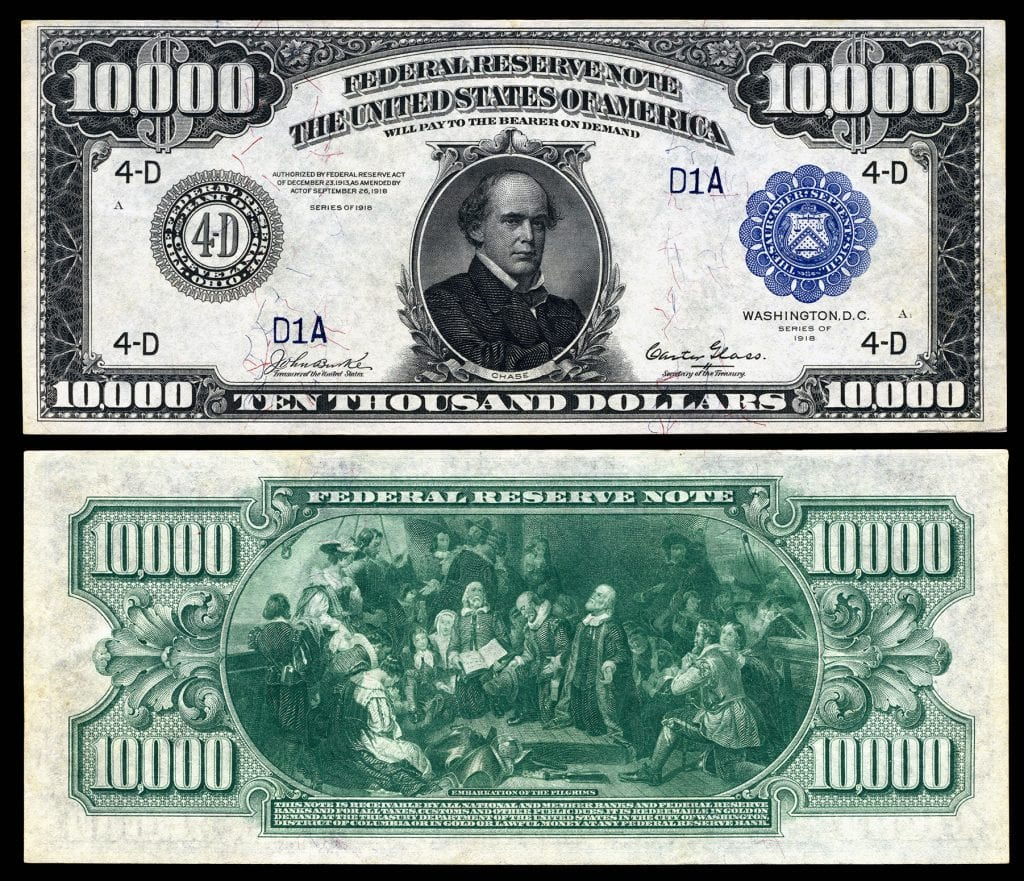 Picture of a 1918 $10,000 Dollar Bill (Salmon P. Chase)