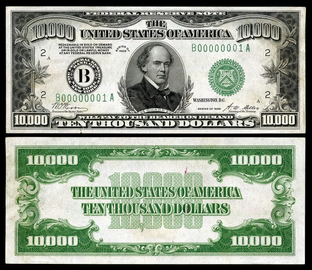 Picture of a 1928/1934 $10,000 Dollar Bill (Salmon P. Chase)