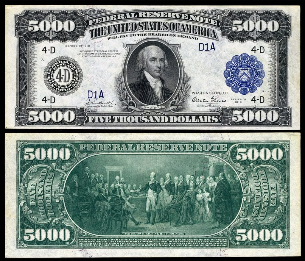 A picture of a $5,000 dollar bill with James Madison's face