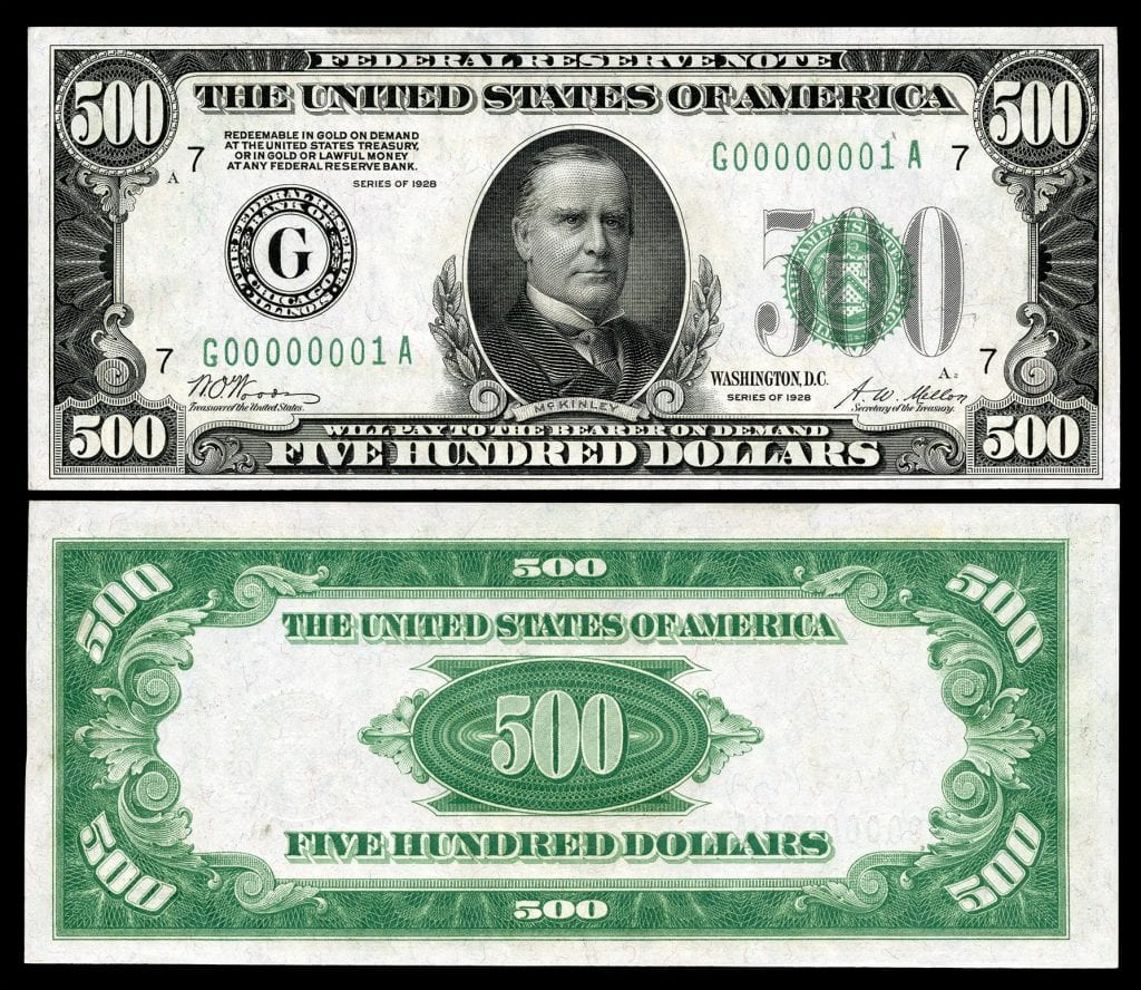 Picture of $500 dollar bill with President William McKinley