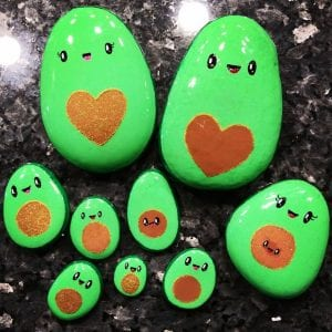 Avocado Painted Rock