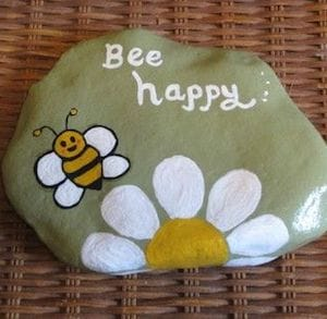bee happy painted rock