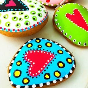 heart patterned painted rocks