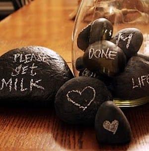 chalkboard painted rock