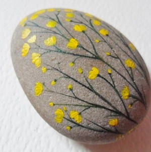 yellow flower rock