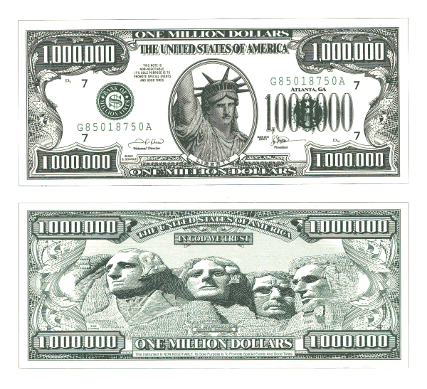 Picture of a novelty million dollar bill