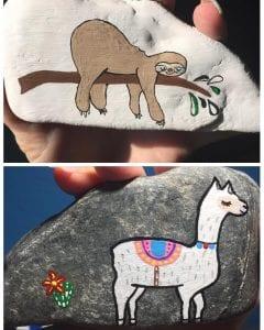 Sloth & Llama Painted Rocks