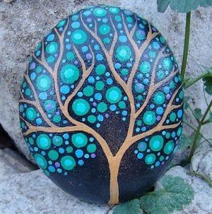 blue branching tree rock pattern