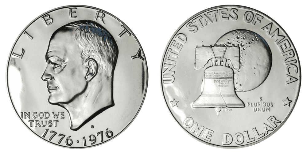 bicentennial Eisenhower dollar coin picture
