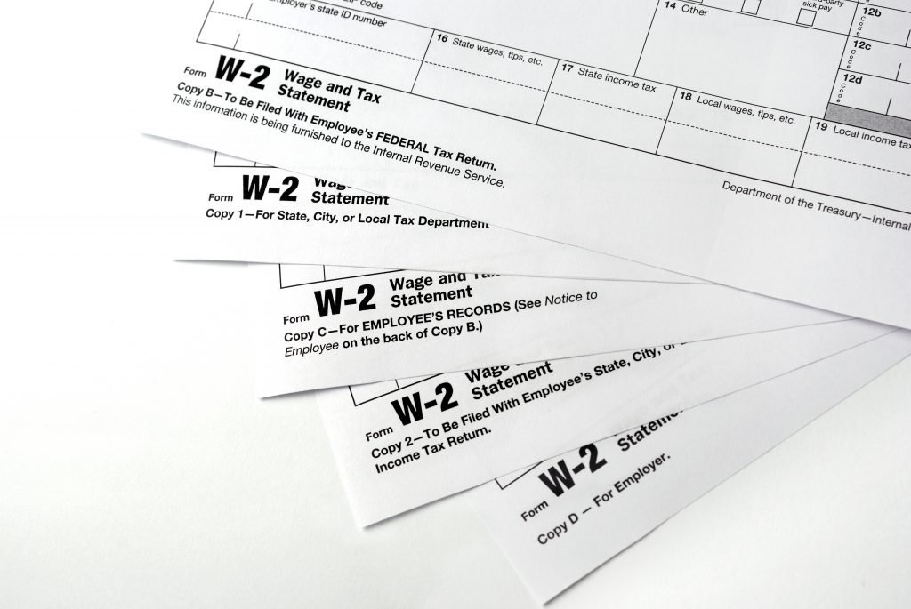 stack of w2 forms