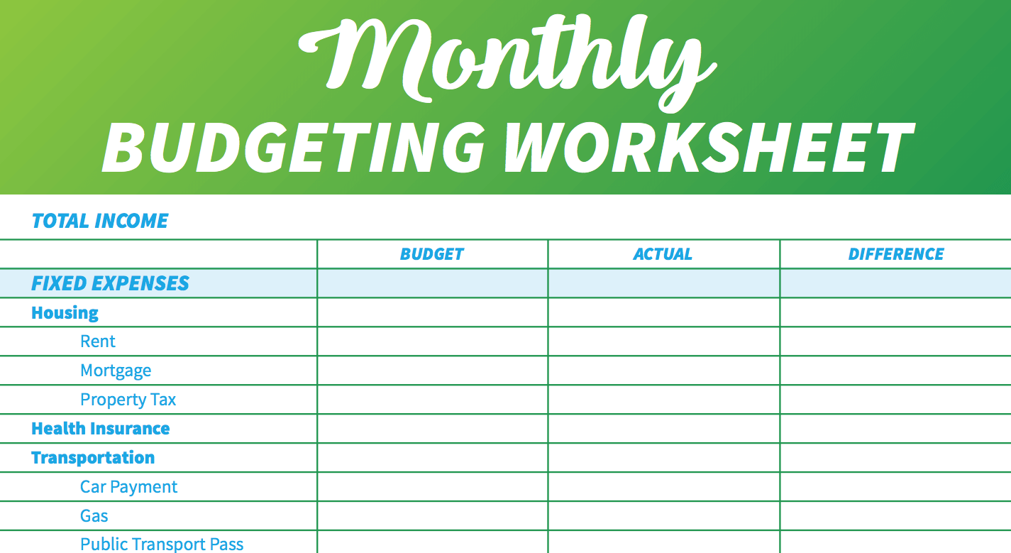 Create a Simple Monthly Budget