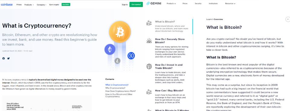Gemini vs Coinbase Features
